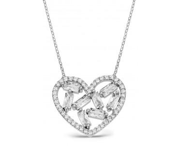 Baget Taşlı Gümüş Kalp...