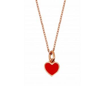 Gümüş Kırmızı Kalp Kolye -...