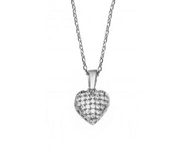 Kalp Motifli Gümüş Kolye -...
