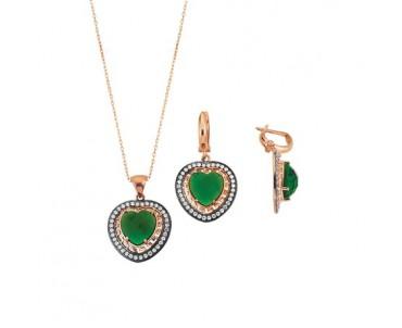 Yeşil Kalpli Gümüş Set