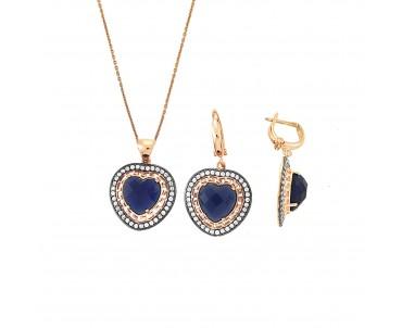 Gece Mavisi Kalpli Gümüş Set