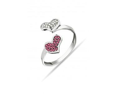 Kalp Motifli Gümüş Yüzük -...