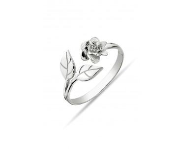 Çiçek Motifli Gümüş Yüzük -...