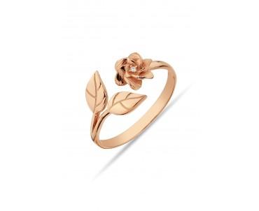 Çiçek Motifli Gümüş Rose...