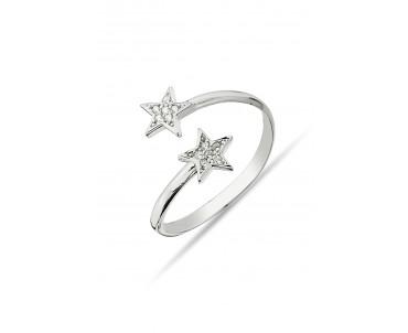 Çift Yıldızlı Gümüş Yüzük -...