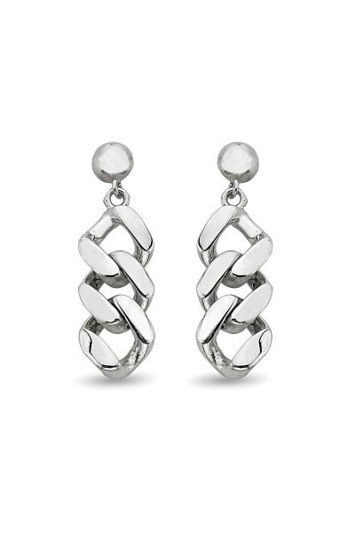 Gümüş Zincir Model Küpe -...