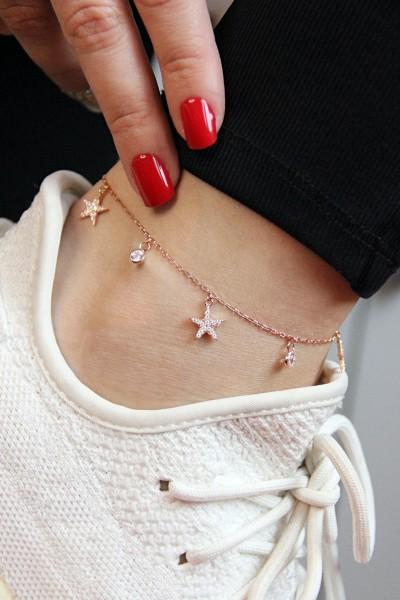 Yıldızlı Gümüş Rose Halhal...