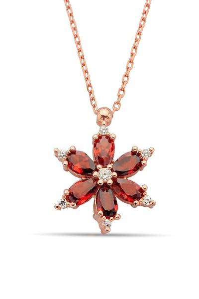 Gümüş Yıldız Çiçeği Kolye -...