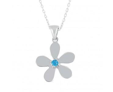 Mavi Taşlı Çiçek Gümüş Kolye