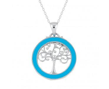 Turkuaz Ağaç Gümüş Kolye