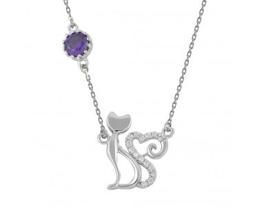 Kalpli Kedi Gümüş Kolye