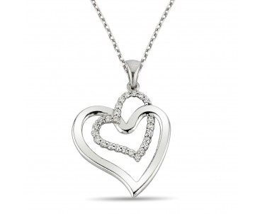 Zirkon Taşlı Kalp Gümüş Kolye
