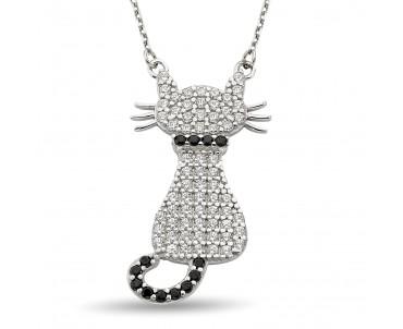 Zirkon Taşlı Kedi Gümüş Kolye