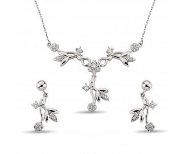 Zirkon Taşlı Orkide Gümüş Set
