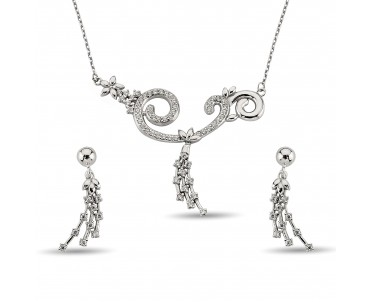 Zirkon Taşlı Özgün Gümüş Set