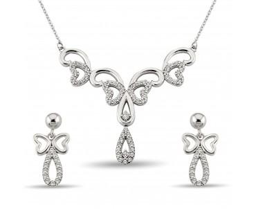 Zirkon Taşlı Kelebek Gümüş Set