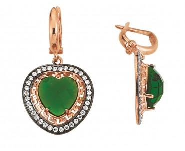 Yeşil Taşlı Kalpli Gümüş Küpe