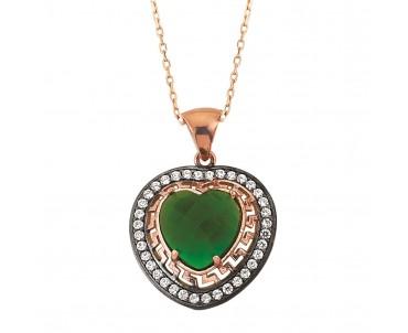 Yeşil Taşlı Kalp Gümüş Kolye