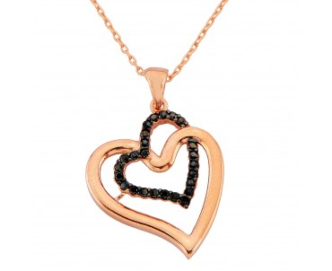 Siyah Taşlı Kalp Gümüş Kolye