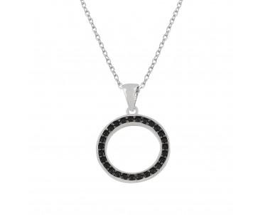 Siyah Taşlı Modern Gümüş Kolye