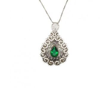 Yeşil Taşlı Gümüş Kolye