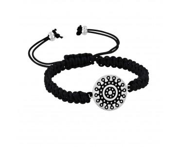 Mandala Motifli Gümüş Bileklik