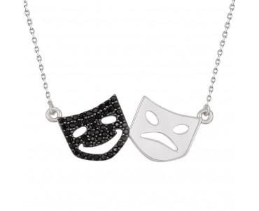 Tiyatro Maskı Gümüş Kolye