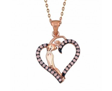 Kadın Figürlü Kalp Gümüş Kolye