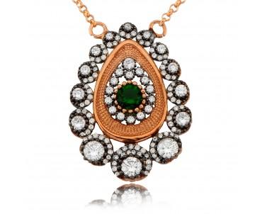 Yeşil Taşlı Tasarım Gümüş...