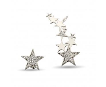 Yıldız Motifli Gümüş Küpe