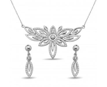 Zirkon Taşlı Gümüş Çiçek Set