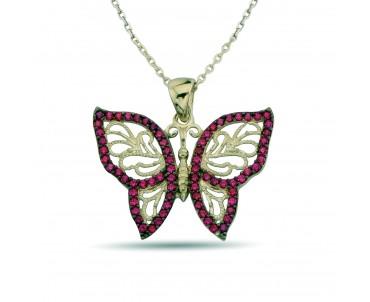 Pembe Taşlı Gümüş Kelebek...