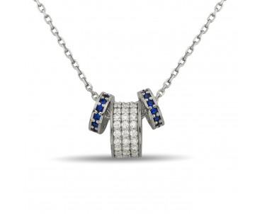 Işıltılı Mavi Halkalı Gümüş...