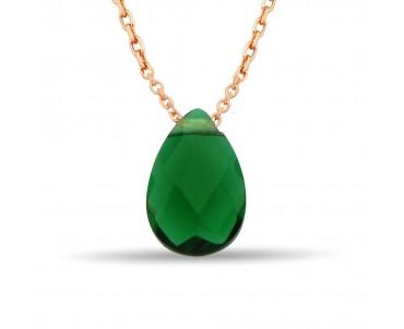 Yeşil Zirkon Damla Gümüş Kolye