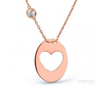 Kalp Gümüş Astar Kolye