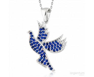 Mavi Taşlı Gümüş Güvercin...