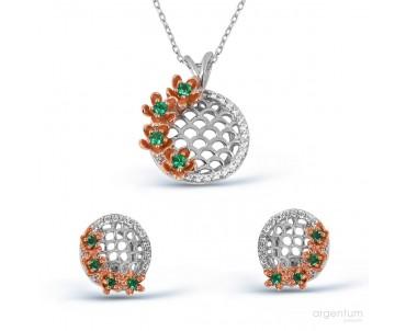 Çiçek Motifli Gümüş Set