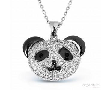 Zirkon Taşlı Gümüş Panda Kolye