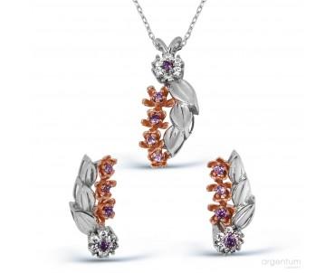 Dal Motifli Gümüş Çiçek Set