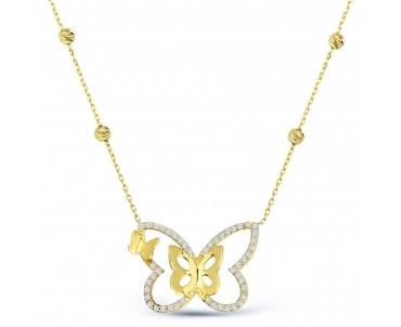 14 Ayar Altın Kelebek Kolye