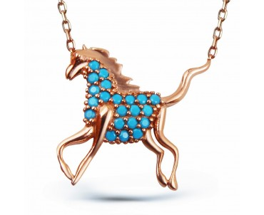 Firuze Taşlı Gümüş At Kolye