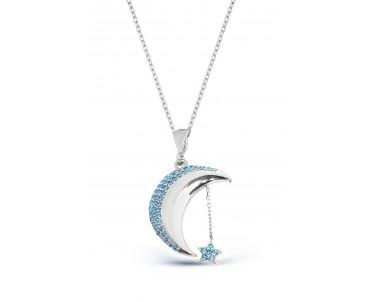 Zirkon Taşlı Gümüş Ay...