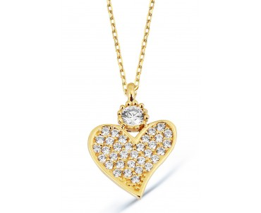 Kalp Motifli 14 Ayar Altın...