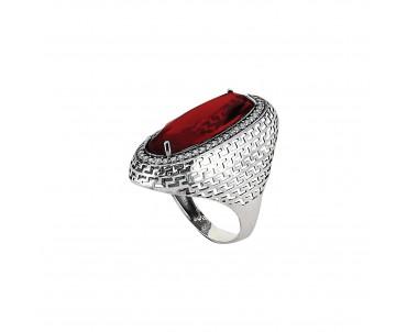 Kırmızı Taşlı Gümüş Yüzük