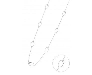 Oval Halkalı Gümüş Uzun Kolye