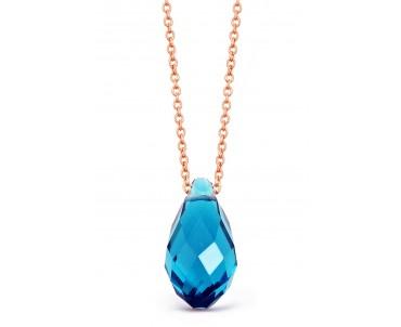 Mavi Kristal Kuvarslı Gümüş Kolye