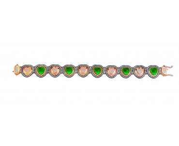Yeşil Taşlı Kalpli Gümüş...