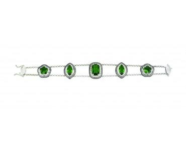 Yeşil Taşlı Gümüş Bileklik