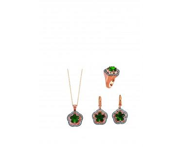 Yeşil Çiçekli Gümüş Set