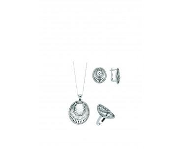 Zirkon Taşlı  Gümüş Set